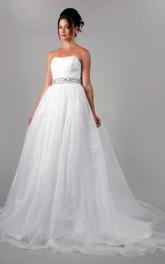 A-Line Crystal Belt Organza Sweetheart Wedding Gown