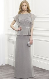 Scoop-neck Short Sleeve Ruched Mother of the Bride Dress With Peplum