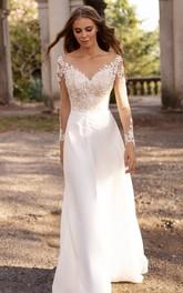 A Line Bateau Satin Lace Floor-length Sweep Train Long Sleeve Illusion Wedding Dress With Appliques