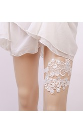 Princess Style White Lace Two Piece Elastic Garter Within 16-23inch