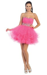 A-Line Jeweled Ruffles Mini Strapless Tulle Sleeveless Lace-Up-Back Dress
