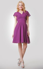 Chiffon Ruched V-Neckline A-Line Short Empire Dress