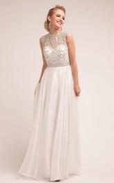 A-Line Beaded Long Jewel-Neck Satin Sleeveless Dress
