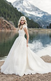 Romantic Queen Anne Cap Sleeve Ballgown Wedding Dress With Lace Appliques And Button Back