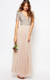 V-neck Short Sleeve Ankle-length Tulle Dress With Sequined top