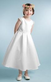 Cap-Sleeve Pleated Tea-Length Satin Flower Girl Dress