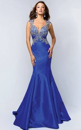 Trumpet Jeweled Long Queen-Anne Backless Satin Dress