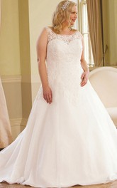 Scoop-neck Lace Sleeveless Ball Gown With Low-V Back And Sweep Train