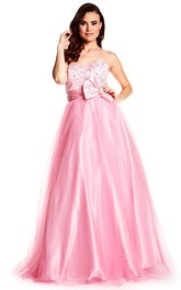 Sweetheart Tulle A-line Satin Beaded Dress With bow And Corset Back