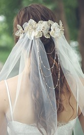 Forest Style Tulle Fingertip Veil with Beads