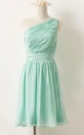 One-shoulder Chiffon Sleeveless short Dress With Zipper And Pleats