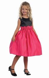 Satin Layered Midi-Length Flower Girl Dress