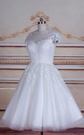 Lace Button Wedding Tulle Tea-Length Satin Dress