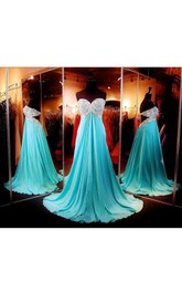 A-Line Sequined Floor-Length Sleeveless Sweetheart Chiffon Long Dress