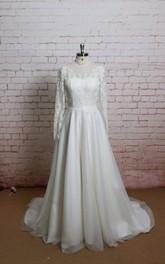 Tulle Lace Bodice Illusion Back High-Neckline Long-Sleeve Dress