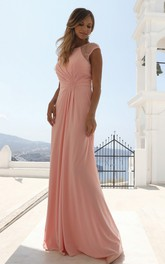 Elegant Short Sleeve Sheath Chiffon Bateau Formal Dress with Beading and Ruching