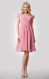 Chiffon Cap Sleeves Pleats A-Line Knee-Length Dress