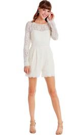 Scoop-neck Long Sleeve Lace Dress