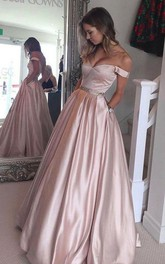 Off-the-shoulder Satin Short Sleeve Floor-length Beading Pleats Pockets Dress