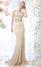 2-Piece Beaded Column Jewel-Neck Jersey Sleeveless Straps Dress