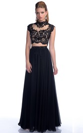 A-Line Pleated Lace-Bodice Chiffon Cap-Sleeve Gown