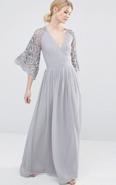 Plunged Chiffon long Dress With Lace bell-sleeve And Pleats