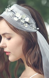 Simple Soft Tulle Bridal Veils with Beads