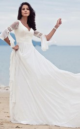 Bohemian Half Sleeve A Line V-neck Chiffon Lace Floor-length Wedding Dress