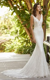 Elegant Sleeveless V-neck Lace Mermaid Wedding Dress With Court Train And Open Back