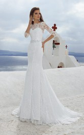 Lace Rhinestone Long-Length-Sleeve Bateau-Neckline Gown