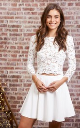 Simple Casual Long Sleeve Two Piece Satin Lace Jewel Wedding Dress with Button