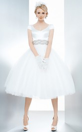 Short Sleeve V-neck Satin Tulle Tea-length Dress With Embellished Waist And bow