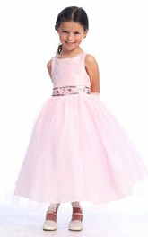 Floral Tea-Length Jewel Tulle Flower Girl Dress