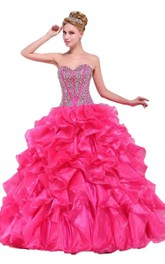 Chic Jeweled Ruffled Sweetheart Ball Gown