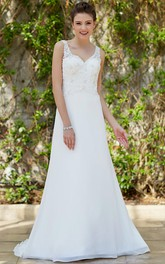 V-neck Sleeveless A-line Wedding Dress With Low-V Back And Sweep Train