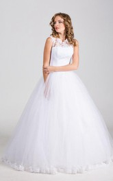 Satin Bow Ribbon Lace Embellishment Tulle High-Neckline Ball Gown
