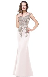Lace Satin Sleeveless Trumpet Long Appliqued Dress