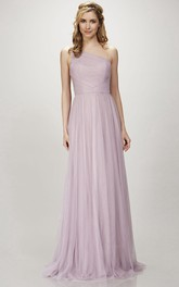 One-shoulder Sleeveless Tulle Bridesmaid Dress With Ruching
