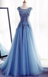 Jewel Lace Tulle Short Sleeve Floor-length Appliques Beading  Dress