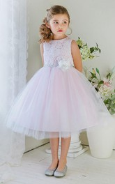 Layered Lace Floral 3-4-Length Tulle Flower Girl Dress