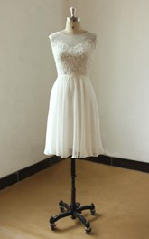 Lace Illusion Neck Sleeveless Ivory Bridal Dress