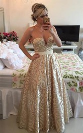 Modern V-neck Sleeveless Pearls Prom Dress 2018 Open Back Floor-length