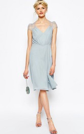 V-neck cap-sleeve Knee-length Chiffon Dress With Illusion Lace
