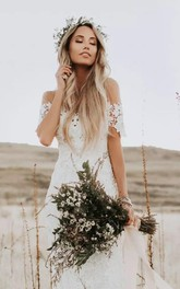 Bohemian Country Style Sheath Lace Off-the-shoulder Illusion Short Sleeve Dress