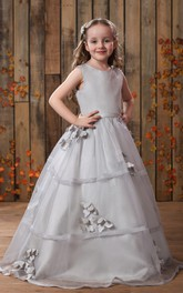 Scoop-neck A-line Sleeveless Ball Gown Flower Girl Dress