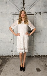 Lace Bateau Neck Knee-Length Short-Sleeve Dress