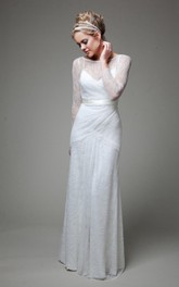 Lace Satin Ribbon Low-V Back Illusion-Sleeve Bateau-Neck Dress