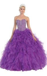 Long Jeweled Ruffled Sweetheart Strapless Organza Sleeveless Lace-Up Ball Gown