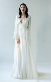 Sexy Sheath Chiffon Long Sleeve Deep-V Back Wedding Dress