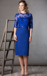 Jewel-Neck Half Sleeve Jersey Knee-length Dress With Illusion And Sequins